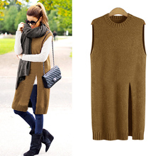 XL-5XL Plus Size Long Sweater Vest Women Knitted Vest Ladies Knit Vests 2017 Autumn Winter Fashion O-neck Sleeveless Cashmere(China)