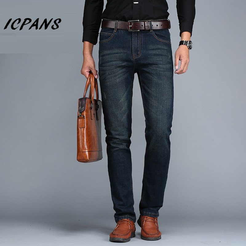 ICPANS Big Size 40 42 44 Jeans Men Classic Smart Casual Straight elasticity Jeans For Men 2018 New business Denim Pants