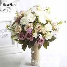 SexeMara Bridal Bouquet European chaise longue roses, fake flowers, home decoration, emulation, wedding bouquet(China)