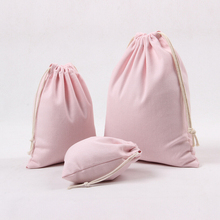 High Quality Light Pink Canvas Storage Bag Eco-Friendly Shopping Tea/candy/smoking Package Drawstring Bag Small Cloth Bag Gift