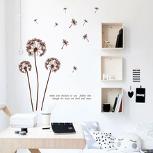 Art new design big size home decoration Dandelion flower wall sticker removable beautiful plant decal in living room or bedroom(China)