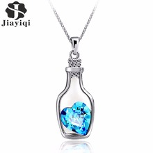 2017 New Silver color Jewelry Bottle Heart Shape Cubic Zircon Statement Necklace&Pendants Crystal Collares for Women Gift(China)