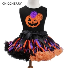 Jack-o'-lantern Baby Pumpkin Halloween Costumes Top + Tutu Skirt Vetement Fille Toddler Girl Halloween Outfits Children Clothing