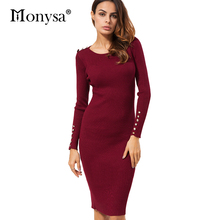 Casual Knitted Dresses Autumn Winter New Arrival 2017 Fashion Buttons Bodycon Dress Women Sweater Dress Black Red Apricot(China)