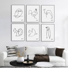 Modern Picasso Minimalist Abstract Line Drawing Canvas A4 Art Print Poster Animal Shape Wall Picture Home Deco Painting No Frame