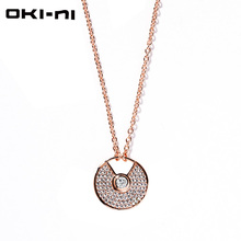 OKI-NI Long Chain Copper Alloy Classic Round Pendant For Women Accessories Fashion charms Necklaces & Pendants XLYJM-40(China)