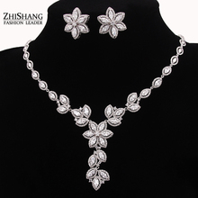 2016 Luxury Flower Shape Zircon Wedding Jewelry Sets For Brides African Vintage Jewelry Set Parure Bijoux Femme WS072