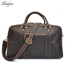 Men vintage crazy horse leather travel duffle Thick Real leather weekend bag Genuine leather Large Boston Bag shoulder bag 3Type