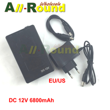 Portable Super Capacity Rechargeable Lithium-ion Battery Pack DC 12V 6800mAh EU/US plug  for CCTV Cam Monitor