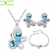 hotsales butterfly locket  fashion 18KGP Austrian Crystal Butterfly Pendant necklace earrings bracelet Jewelry Sets 4090