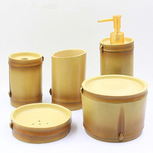 Fashion Home Decor Resin Bathroom set 5 pieces Imitating Bamboo Bathroom Decoration Set Bathroom Supply Kits Commercial Gift Set(China)