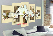 Hand Painted 5Pcs Picture On Canvas Group Of White Flower Oil Painting No Frame For Living Room Decor Wall Art Picture