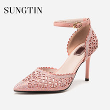 Sungtin Sexy Crystal Bling Pumps Women Catwalk Hollow Out Pointed Toe High  Heels Stilettos Lady Classic Party Wedding Pumps a43781a9a3eb
