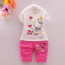 2017 Summer Children Girl Fashion Brand Cute hello kitty Suits Baby Girls T-shirt+pants 2pcs/sets Baby Clothes Sets