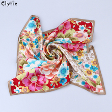 CLYTIE Women Genuine 100% Silk Scarves Square Fashion High Quality Luxury Women Pure Silk Scarf Wholesale Drop Shipping SC3259