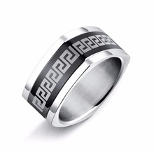 mens rings stainless steel rings Great Wall pattern vintage jewelry dropshipping suppliers(China)