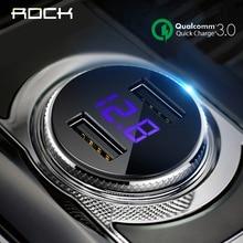 ROCK QC 3.0 Car Charger Dual USB Quick Charge iphone X 7 8 iPad Samsung Huawei Xiaomi Fast Charging 5V 3.4A