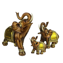 Q-glory Elephant Figurine Elephant Resin Miniature Garden Figures Lucky Elephant Statuettes Feng Shui Products Accessories(China)