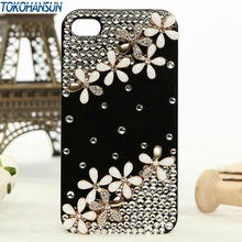 1 piece Bulk NEW New Luxury 3D 10 flower Bling Crystal Diamond Case Cover for iPhone 3 3g 3s retail box Accessory