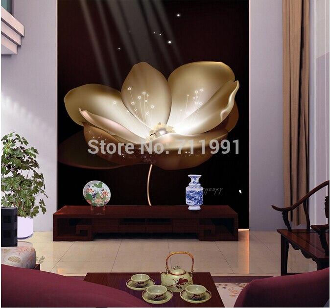 Free shipping custom- modern 3D mural TV living room sofa backdrop meeting room hotel bedroom wallpaper white lotus<br>