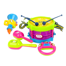5pcs/set Toy Musical Instrument Kids Music Toys Roll Drum Musical Instruments Band Kit Infant Playing Children Toy Gift(China)