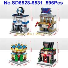 SD6528-6531 596pcs 4in1 City Mini Street Clown Magic Hall Stock Exchange Car Store Cocktail Bar LED Building Block Brick Toy