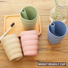 1pc New Creative Brush Teeth Cup Green Wheat Straw Material Can Be Inverted Anti-dust Bathroom Portable Rinse Cup A45