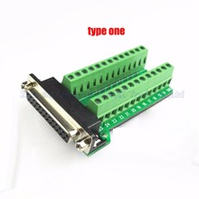 Female Parallel 2 rows 25 pins DB25 Serial port turn to wire terminals  DR25 female socket turn to terminal