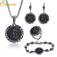 2017 NEW Black Broken Stone Wedding Jewelry Sets Necklace Earrings Ring Bracelet For Women Unique Boho Silver Plated ly21