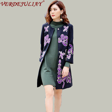 High Street Long Coats 2018 Early Spring Women Fashion Purple Flower Embroidery Covered Button Loose Black OL Top Quality Coat(China)
