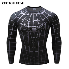 Black Spiderman Armor Men Compression shirts Cosplay T shirts Quick Dry Fitness tee Compression Shirt Tight Bodybuilding T shirt(China)