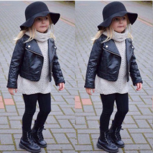 2016 New Arrivals Baby Girls PU Leather Jacket Autumn Child Girl Black Overcoat Baby Outwear Clothing Cool and Fashion