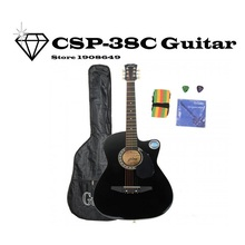"CSP-38C 38"" Basswood Cutaway Acoustic Guitar Black with Bag Strap Pick Black zakk wylde"