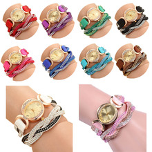 Candy Color Fashion Rhinestone Winding Belt PU Leather Weave Bracelet Watch South Korean Oval Dial Women Quartz Watch LL(China)