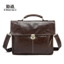 Men's Genuine Leather Crossbody Bags Bussiness Single Shoulder Bags Fashion Laptop Bags Famous Brand Designer Style Handbags