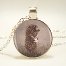 1pcs/lot Hedgehog In The Fog Silver Pendant Necklace Long Chian Statement Handmade Fashion Necklace For Women