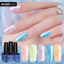 Modelones Newest 10ML Snowflake Gel UV Nail Varnish Semi Permanent Led Nail Gel Polish Nude Color Glitter UV Gel Nail Polish