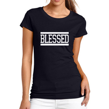 High Quality 2017 harajuku fashion style Printed Blessed Graphic t shirt women brand designer cotton tshirt white and black S-XL