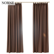 NORNE Darkening Solid Thermal Insulated Blackout Curtains Heat Soundproof Window Grey Drape Blinds Panel for Bedroom Living Room(China)