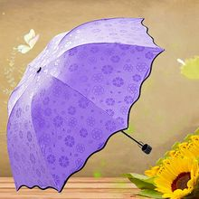 New Delicate Kawaii Multi-function Umbrella Lady Princess Magic Flowers Dome Parasol Sun / Rain Folding Umbrella(China)
