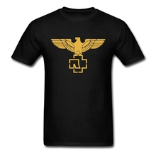 Latest Designs Gold Rammstein Eagle Logo Tshirts Men Males Custom Cotton Short Sleeve Big Size Tees Shirt
