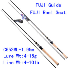 Tsurinoya PRO FLEX C652ML-1.95m ML Action FUJI Guide Reel Seat Bait Casting Rod High Carbon 3A Cork Hanle Cast Fishing Rod Pesca(China)