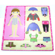 Free shipping educational toys baby learn to wear clothes wooden stereo clothing jigsaw puzzle game creative children gift 1pc
