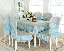 European type Lace floral jacquard tablecloth set suit 130*180cm table cloth matching chair cover 1 set price 2 colors free ship