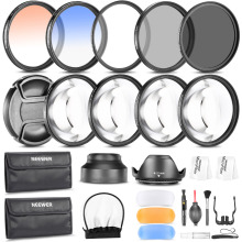 Neewer 52MM FILTER KIT(UV/CPL/ND8 Filter)+Close-up Filters+Graduated Color Filters+Cleaning Set+Pop-up Flash Diffusers+Lens Hood(China)