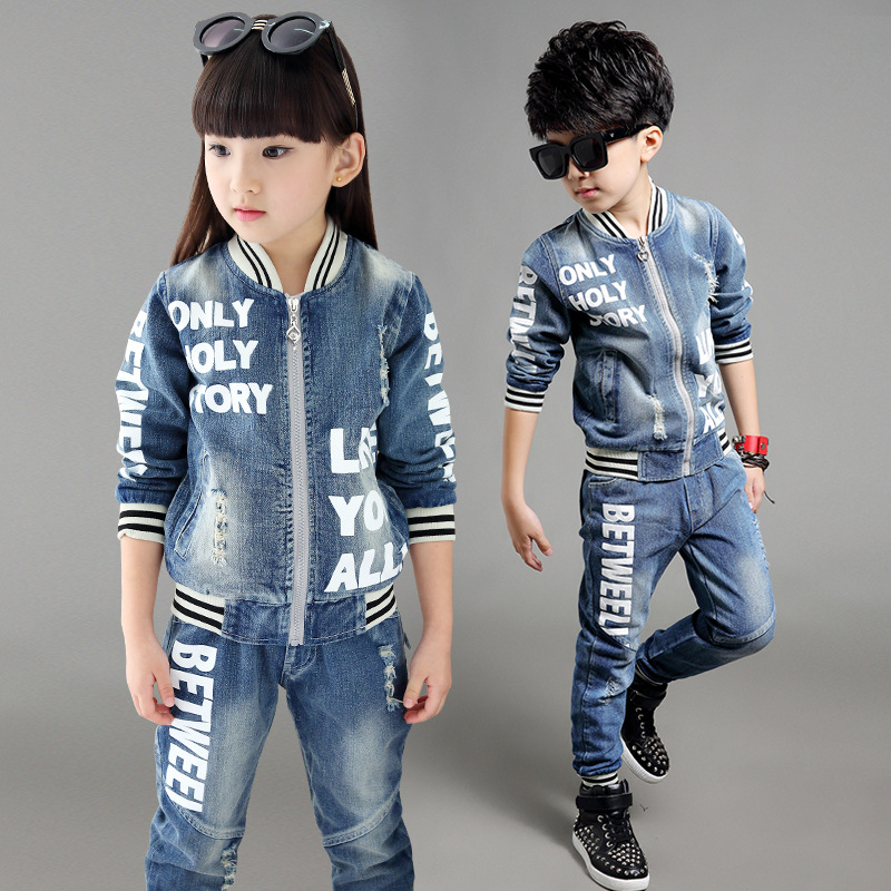 2016 new Korean version of the big boy cowboy suit of sports suit Kids Girls Autumn alphabet jeans jacket boy girl clothes set<br>