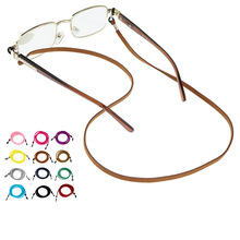 New Leather Eyeglass Cord Adjustable End Glasses Holder colorful Leather Glasses neck strap String rope Band 12colors option