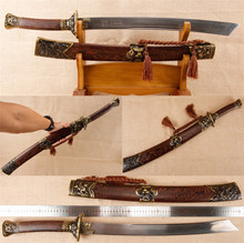 handmade Chinese sword Damascus steel dagger Dragon tiger pattern(China)