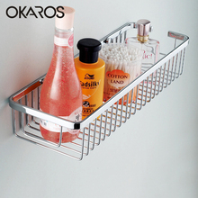 OKAROS30cm 40cm Wall Mounted Single Tier Bathroom Shelf Shampoo Shelves Basket Storage Basket Rack SUS304 Stainless Steel(China)