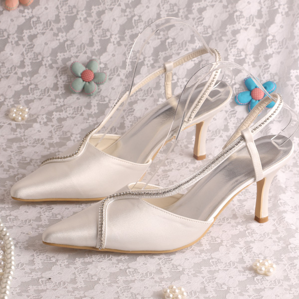 Slingback Pointed toe Sexy Women Shoes Wedding Sandals Beige Med Heel Dropshipping<br>